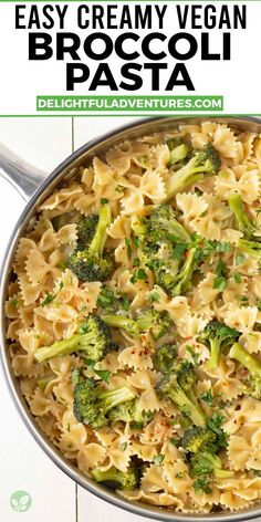 An easy, creamy broccoli pasta recipe you can have ready and on the table in just 30-minutes! Use gluten-free pasta to make it gluten-free, too! It's a simple but delicious one pot vegan meal to add to your list of vegan dinner recipes to make on those busy weeknights when you need dinner in a hurry. Pastas Recipes, Pasta Dinner Recipes, Vegan Dinner Recipes, Vegan Dinners, Vegan Recipes Easy, Weeknight Recipes, Noodle Recipes, Dairy Free Recipes Pasta, Gluten Free Dairy Free Vegetarian Recipes