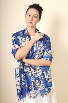 Women's Blue Bonjour Paris Fashion Scarf . Unique Trendy Women's Scarves. Holiday gift ideas for her.  Eiffel Tower.