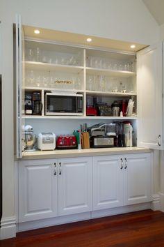 amazing pantry kitchen design ideas for your inspiration – Own Kitchen Pantry Kitchen Appliance Storage, Kitchen Pantry Design, Kitchen Pantry Cabinets, Kitchen Redo, Home Decor Kitchen, New Kitchen, Home Kitchens, Kitchen Remodel, Kitchen Appliances