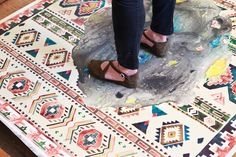 Michelle Blade in the studio - that rug is a watercolor painting (!)