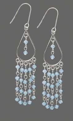 Earrings with Aquamarine Swarovski® Crystal Bicone Beads and Sterling Silver Drop