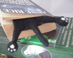Cat Bookmark  Black Needle Felted Kitty Half Splat bookmark