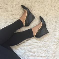 Black Rock Studded Wedges  Search:Chloe  www.theluxfemme.com $37.99