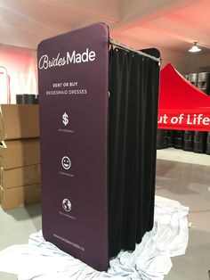 Custom Portable Dressing Rooms are a great add to your trade booth if you have privacy needs. The old days of sending your potential clients to the hall washroom are finally over! Portable Dressing Room, Dressing Rooms, Fabric Display, Changing Room, Washroom, Filing Cabinet, Printing On Fabric, Old Things, Storage