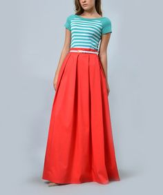 Loving this Coral & Aqua Stripe Belted Maxi Skirt on #zulily! #zulilyfinds