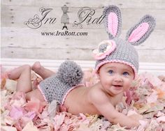 Handmade Crocheted Easter Bunny Rabbit Hat and Diaper Cover