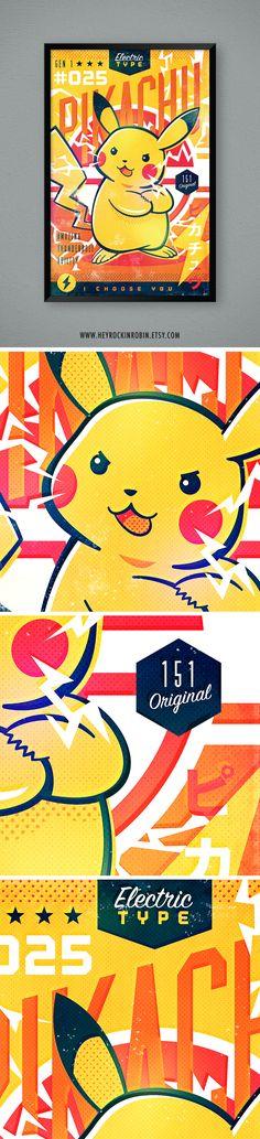 Retro Vintage Pikachu Poster by HeyRockinRobin on ETSY