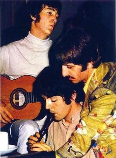 """The Beatles -- John and Paul working out FOOL ON THE HILL. Meanwhile ... Ringo is looking at the words on paper. RINGO has said: """"I play with the SINGER"""". The only other drummer who does that BRILLIANTly is Steve Holley who was in WINGS w/McCartney. He makes the singer sound better. Like Ringo did."""