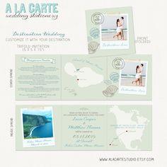 Beach Destination Wedding Invitation  Trifold by alacartestudio