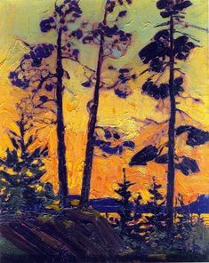 View Pine trees at sunset by Tom Thomson on artnet. Browse upcoming and past auction lots by Tom Thomson. Canadian Painters, Canadian Artists, Abstract Landscape, Landscape Paintings, Tom Thomson Paintings, Emily Carr, Guache, Tree Art, Illustration
