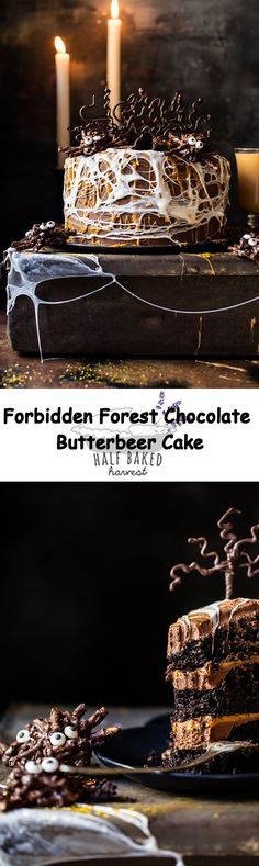 Forbidden Forest Chocolate Butterbeer Cake | halfbakedharvest.com @hbharvest Cupcakes, Cupcake Cakes, Chocolate Tree, Chocolate Cakes, Cake Recipes, Dessert Recipes, Forbidden Forest, Half Baked Harvest, Chocolate Decorations