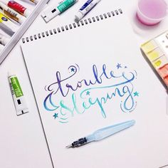 Watercolor Lettering using Pentel Aquash in Medium and Reeves Watercolor tubes.
