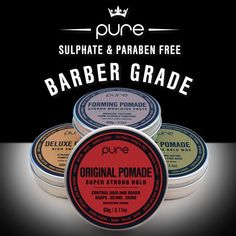 PURE POMADES – barber grade grooming products for every hairstyle.  pure, pure pomades, original pomade, deluxe pomade, forming pomade, matt pomade,  mens hair, mens grooming, hairstyle, haircare, sulphate free, paraben free