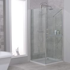 900 x 900 Twin Door Hinged Shower Enclosure - Better Bathrooms Small Shower Room, Small Showers, Electric Showers, Walk In Shower Enclosures, Safety Glass, Door Hinges, Shower Doors, Amazing Bathrooms, Space Saving
