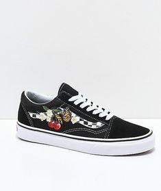 c1ccb50f2b6 Vans Old Skool Black   White Checkered Floral Skate Shoes