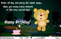 A cute teddy bear and a fun birthday message. Free online It's Your Birthday ecards on Birthday Animated Birthday Cards, Birthday Messages, It's Your Birthday, Happy Birthday, Cute Teddy Bears, Special Day, Party, Happy Brithday, Birthday Msgs