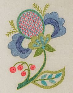 BLUE PETALS small crewel work design 12.5cm x 8.5cm wide (5 x 3 3/8). * Beginner - The size of this design makes it very manageable, making it ideal as an INTRODUCTION to crewel work or if you are new to embroidery in general. Inspired by traditional Jacobean crewel work this cheerful fantasy bloom is embroidered in aqua, blues and greens with highlights of raspberry pink. A variety of the most common crewel work stitches, including a simple laid filling are used to create texture and…
