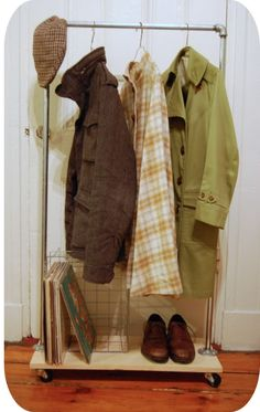 DIY rolling clothes rack