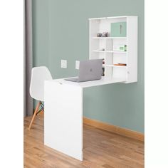 Impart a perfect blend of elegant and typical accent to your home or office with this amazing Basicwise White Wall Mount Laptop Fold-Out Desk with Shelves. Cubby Storage, Built In Storage, Storage Spaces, Storage Ideas, Folding Walls, Folding Desk, Wall Mounted Desk, Wall Desk, Desk Hutch