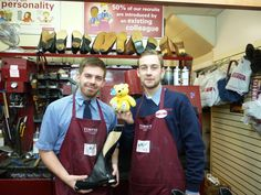 Nick Chequer & Jack Read of Timpsons Wimbledon support the Paul Strank Roofing Photothon with Pudsey. #pudseyphotothon #cin #pudsey