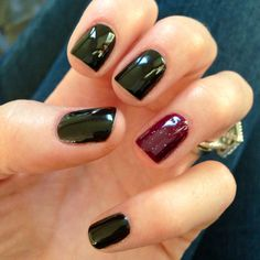 Black shellac with sparkly plum accent nail