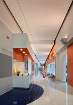 "Healthcare design ""The entry lobby of the Grace Hill Neighborhood Health Center—Water Tower, in St. Louis, has lively colors and graphics. #healthcare"