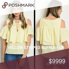 🆕YELLOW PINSTRIPED COLD SHOULDER RUFFLE TOP Yellow with white pinstripes ruffle top. Cold shoulder. One big ruffle that goes all the way around. Cute lace up ties neckline.  🍃ALSO AVAILABLE IN BLACK  ☞Sizes Available:  S M l ☞MODELING SIZE MEDIUM 🍃IG: @JMAYORGA91   ❌PRICE FIRM❌ Tops