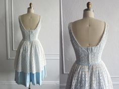 Vintage 1950s Dress  / 50s Eyelet Dress / 1950s Cotton Lace Dress / 50 Dresses / Vintage Fashion