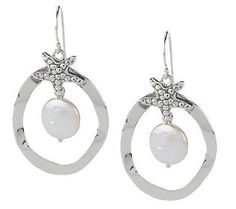 Or Paz Sterling Cultured Pearl Starfish Dangle Earrings