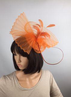 Orange Fascinator Crin fascinator Hat with by PrettyElegant1
