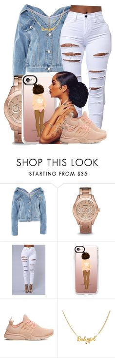 """158"" by jalay ❤ liked on Polyvore featuring Topshop, FOSSIL, Casetify and NIKE"