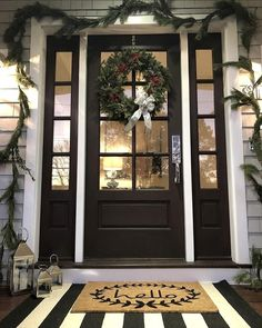 I love to share pictures you send me of things I have inspired you to change in your home! Today I shared a couple of the Christmas entry photos I have gotten and where to find some of the (most… Porch Awning, Front Door Porch, Front Door Mats, Front Door Entrance, Front Door Decor, Porch Doors, Big Front Porches, Country Porches, Southern Porches