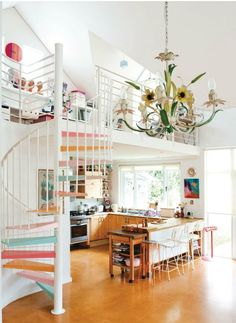 Those stairs!  Plus a tole chandelier.