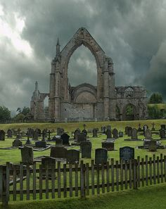 The ruins of Bolton Abbey, North Yorkshire, England.This, the largest of Yorkshire's four counties – and the largest county in England – is also the most beautiful. Unlike the rest of northern England, it has survived almost unscathed Abandoned Buildings, Abandoned Places, The Places Youll Go, Places To Visit, Bolton Abbey, Old Cemeteries, Graveyards, North Yorkshire, Yorkshire England