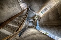 What you see is a shot from above, where I am standing in between four silos. These were part of an abandoned cement factory in Italy
