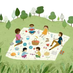 Friends Illustration, Children's Book Illustration, Kitty Crowther, Kids Picnic, Drawings Of Friends, Kids Writing, Creative Activities, Art Lesson Plans, Drawing For Kids