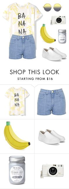 """BANANA!!!"" by larosh ❤ liked on Polyvore featuring MANGO, Topshop, Kate Spade, Lomography and Matthew Williamson"