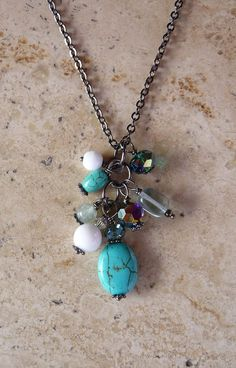 Turquoise Cluster Bead Necklace