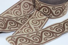 70 mm Brown Aztec Jacquard trim 2.75 inches  vintage Ribbon