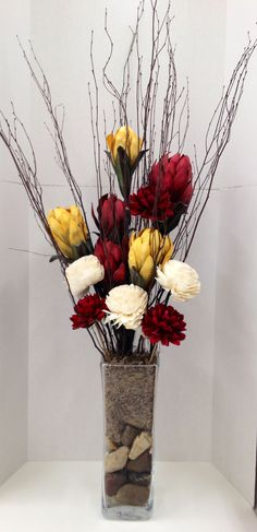 "Custom Faux Floral Design and Arrangement: Dry ""Naturals"" and Papier-mâché Florals with Faux Branches; River Rocks and Natural Moss filled Glass Vase...Arts & Crafts ROCK!!!  http://nfmdesign.synthasite.com/"