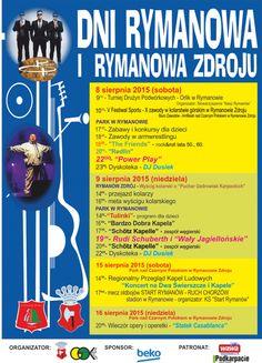 """w dniach 8-9 sierpnia (Park w Rymanowie) oraz 15-16 sierpnia (Park nad Czarnym Potokiem w Rymanowie Zdroju) odbędą się """"DNI RYMANOWA i RYMANOWA ZDROJU"""", szczegóły imprezy na plakacie:"""