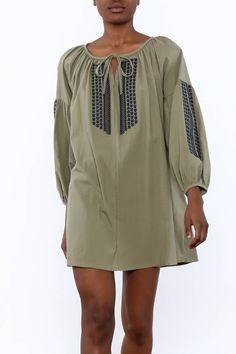 Navy on green bohemian mini dress.    Boho Mini Dress by NU New York. Clothing - Dresses - Long Sleeve Clothing - Dresses - Mini Manhattan, New York City Union Square, Manhattan, New York City