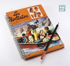 Libreta hecha a mano reciclando las tapas de un viejo libro usado de «Los Hollister».