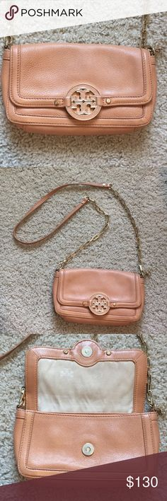 "Tory Burch Amanda Mini Crossbody in Royal/Tan Great condition authentic Tory Burch Purse!! Looks great from the outside, but the inside is a little dirty. The chain has come undone as you can see in the pics above, but I am going to have my bf try to reattach it. I've been clipping it in the meantime, which is super unnoticeable!   Approximate measurements: 4.7""H X 8""L X 1.7""D  Removable, adjustable chain and leather cross-body strap is about 22"" (55.8 cm) Tory Burch Bags Crossbody Bags"