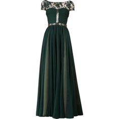 Satinee's collection - Reem Acra ❤ liked on Polyvore featuring dresses, gowns, long dresses, vestidos, green ball gown, reem acra, green dress, reem acra gown and green evening dress