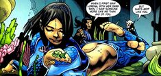"""(Aquagirl) Lorena Marquez. Debute: Aquaman vol. 6 #16 (May 2004). Created by: Will Pfeifer, Patrick Gleason. Abilities: breathe underwater, withstand ocean pressure, exemplary detective skills, semi-proficient hand-to-hand. Lorena's family were among thousands killed in an earthquake that makes San Diego to sink deep in the sea. Aquaman helps her and she discovers she can breathe underwater. They find survivors and rebuild the city as """"Sub Diego."""" 1 of few Latina heroes."""
