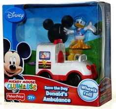 Mickey Mouse Clubhouse Save the Day Donald's Ambulance by Fisher-Price. $17.99. Save the Day Donald's Ambulance. Disney Mickey Mouse Clubhouse. Donald duck figure included. Mickey Mouse Clubhouse Toys, Mickey Mouse Toys, Power Rangers Ninja, Play Vehicles, Kids Room Organization, Disney Tsum Tsum, Save The Day, Disney Toys, Toy Boxes