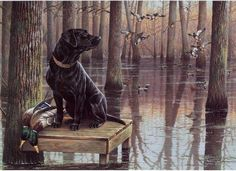 """""""2008 Arkansas Duck Stamp"""" by Cynthie Fisher ~ Ducks, Geese and Water Birds ~ black lab and mallards ~ hunting dog"""