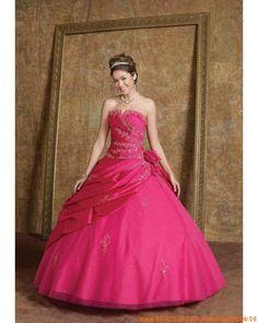 Liebstes rosa Abendkleid aus Taft und Tüll Herzausschnitt mit Stickerei