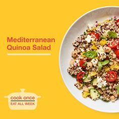 Most salads wilt or go soggy in the fridge, but this versatile one holds well for up to five days thanks to hearty whole-grain quinoa. You won't be bored with these leftovers. Mediterranean Quinoa Salad, Quinoa Salad Recipes, Eat Smart, Easy Healthy Recipes, Grains, Salads, Healthy Eating, Tasty, Meals